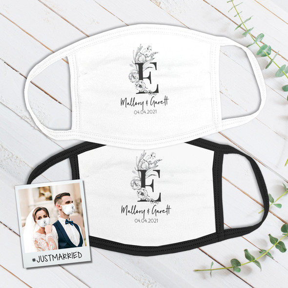 Wedding couple monochrome floral single initial wedding guest favor fabric face mask