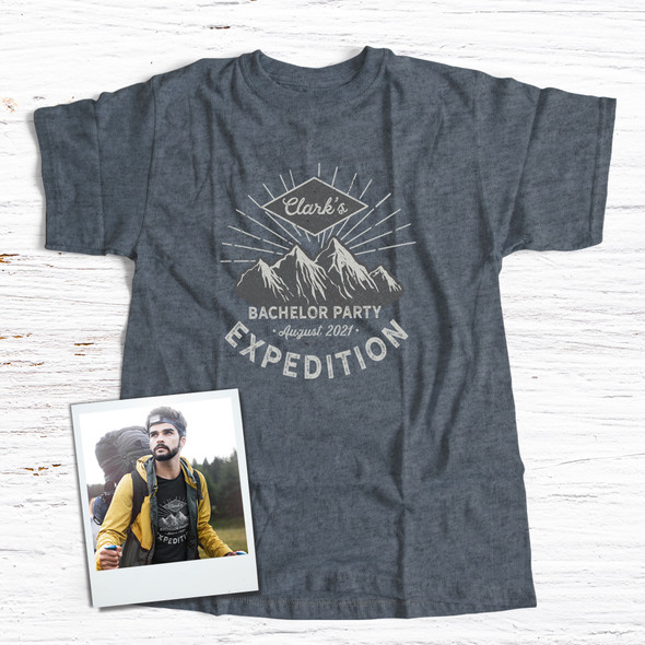 Bachelor party mountain expedition personalized DARK Tshirt