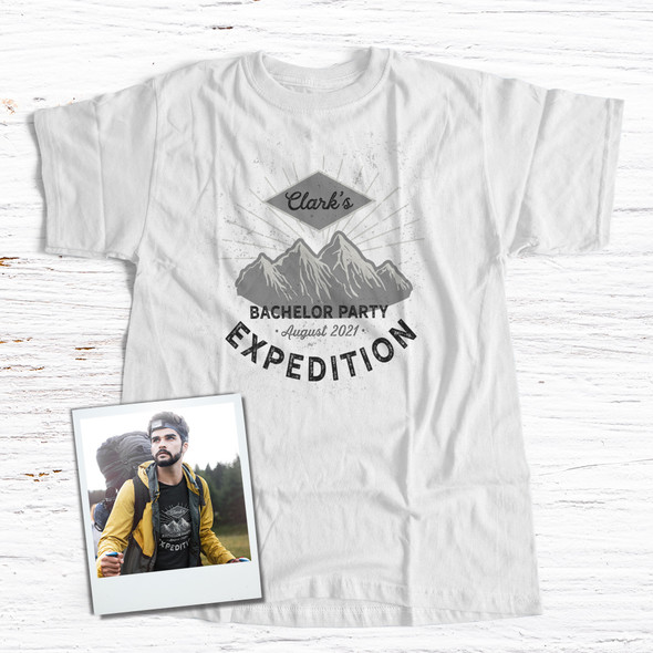 Bachelor party mountain expedition personalized Tshirt