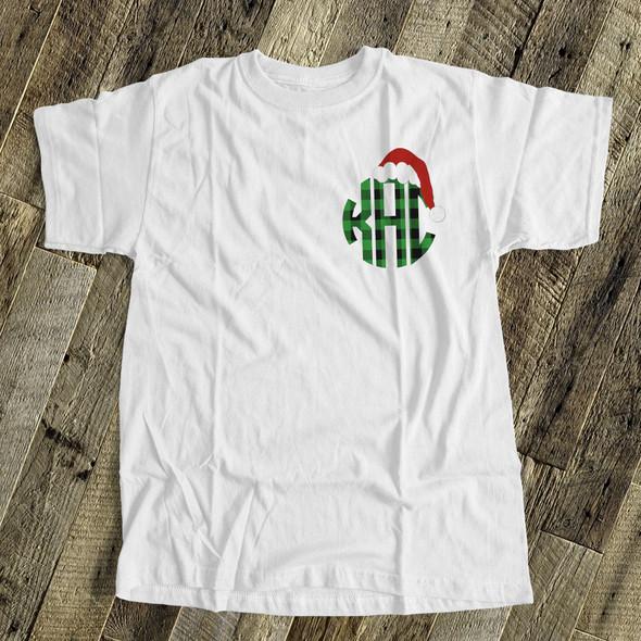 Santa hat plaid monogram crew neck or v-neck personalized Tshirt