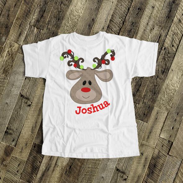 Christmas boy reindeer antler lights personalized Tshirt