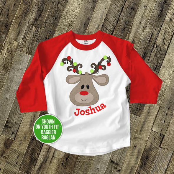 Christmas boy reindeer antler lights personalized raglan shirt
