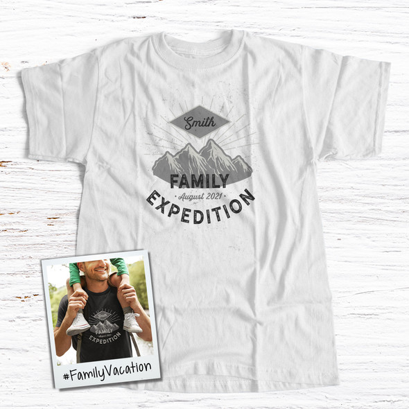 Family vacation mountain expedition personalized unisex Tshirt