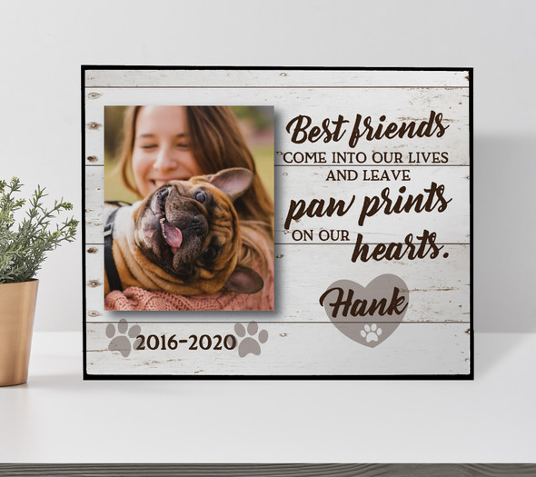 Pet memorial paw prints on our hearts personalized photo plaque