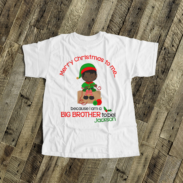 Merry Christmas to me big brother to be elf pregnancy announcement Tshirt