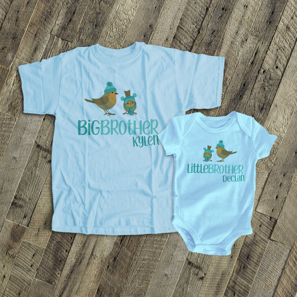 Big brother little brother winter holiday birdies matching sibling set Tshirts