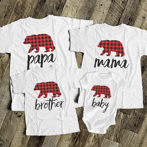 Christmas plaid bear family matching FOUR shirt gift set