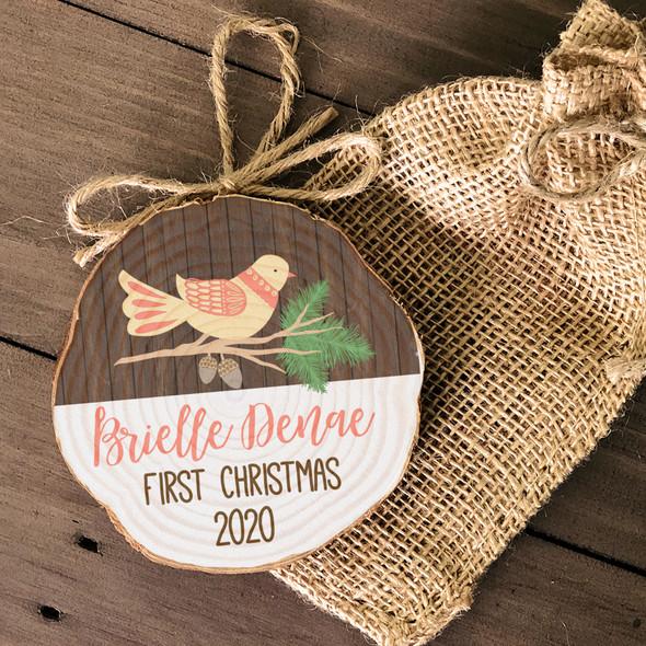 First Christmas bird on branch personalized cut pine wood ornament