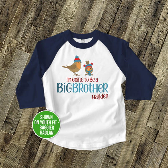 Big brother to be holiday birdies pregnancy announcement raglan shirt