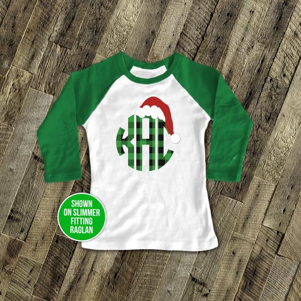 Santa hat plaid monogram youth raglan shirt