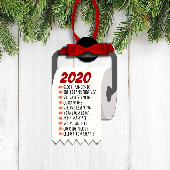 Funny 2020 global pandemic list toilet paper commemorative Christmas ornament