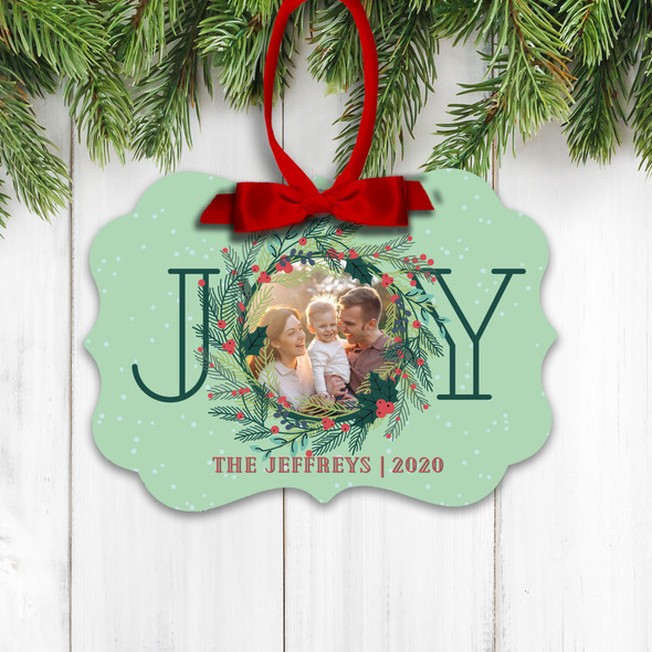 Christmas joy family photo personalized holiday ornament