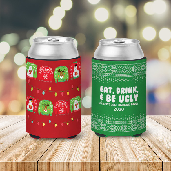 Christmas sweater party eat drink & be ugly personalized slim or regular size can coolie