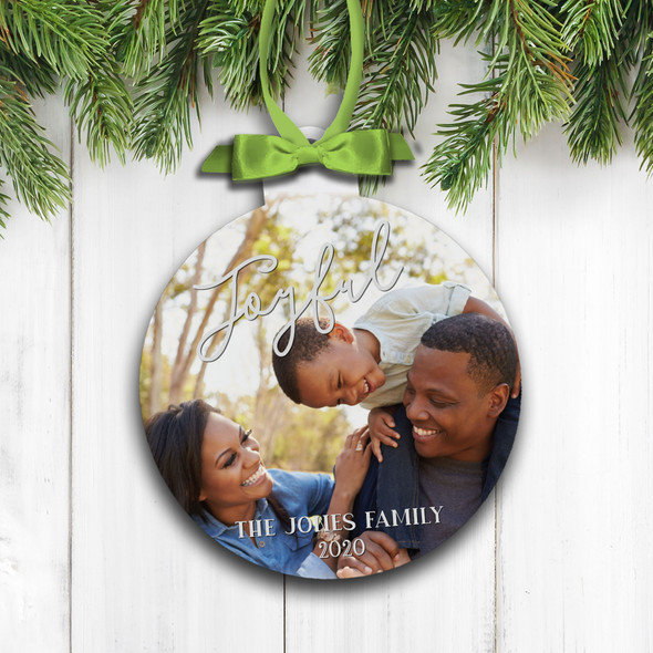 Joyful Christmas personalized family photo holiday ornament
