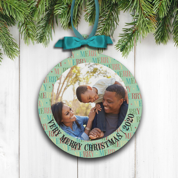 Very Merry Christmas family photo holiday ornament