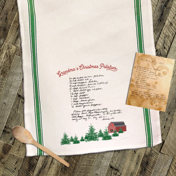 Christmas barn fir trees handwritten keepsake recipe tea towel