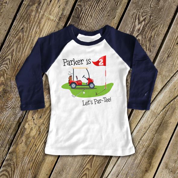 First birthday shirt boy golf personalized raglan Tshirt