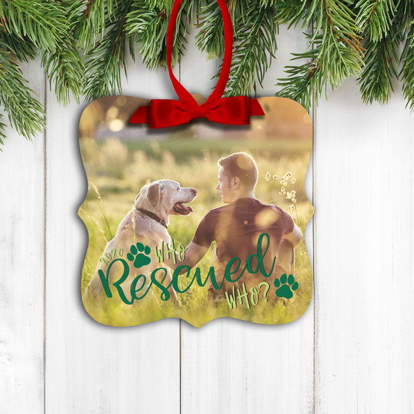 Pet lover who rescued who photo ornament