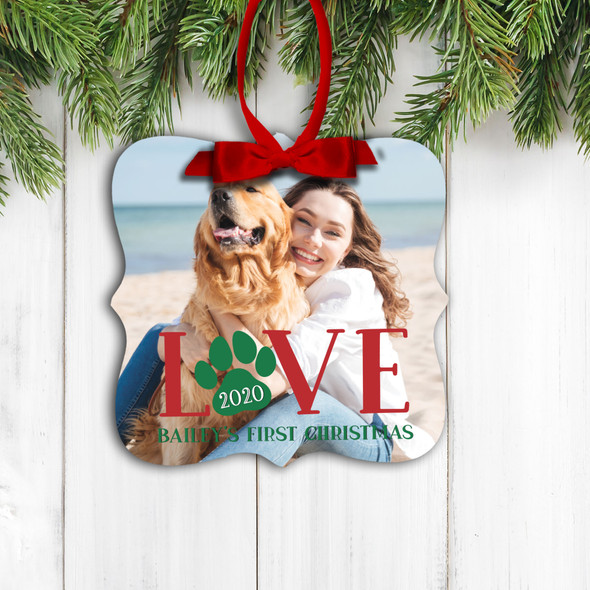 Love pet dog cat first christmas personalized photo ornament