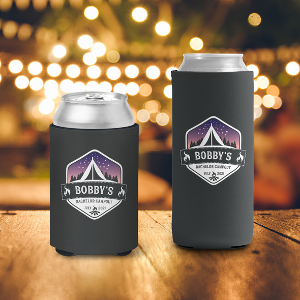 Bachelor party campout weekend personalized can coolies