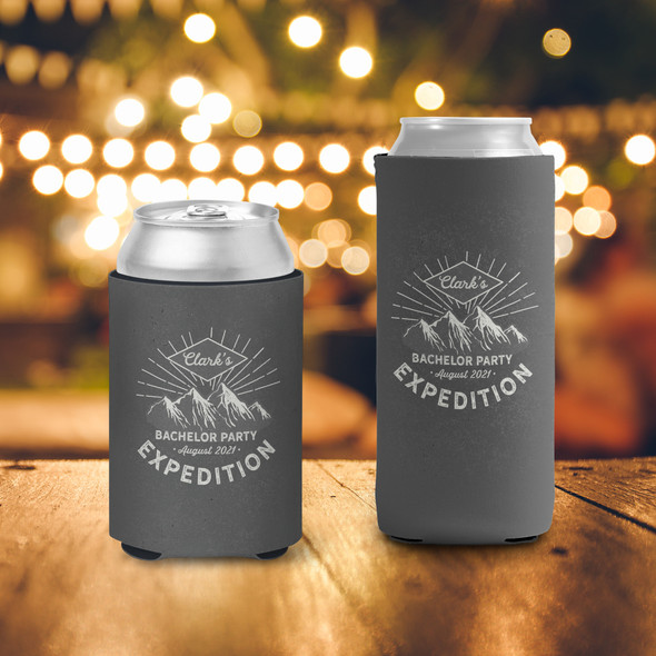 Bachelor party mountain expedition personalized can coolies