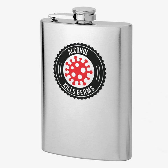Alcohol kills germs stainless steel flask with quarantine survival kit gift set option