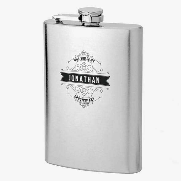 Will you be my groomsman personalized stainless steel flask with gift set option