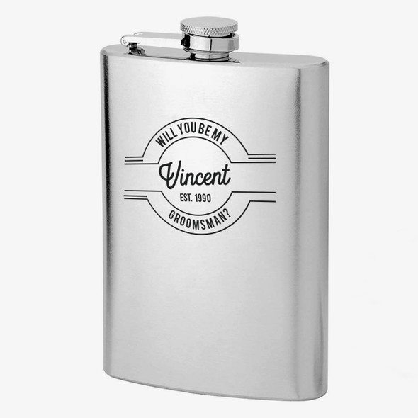 Groomsman proposal will you be my groomsman personalized stainless steel flask with gift set option