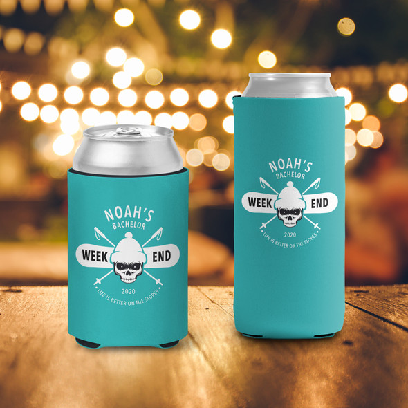 Bachelor party weekend ski trip personalized can coolies