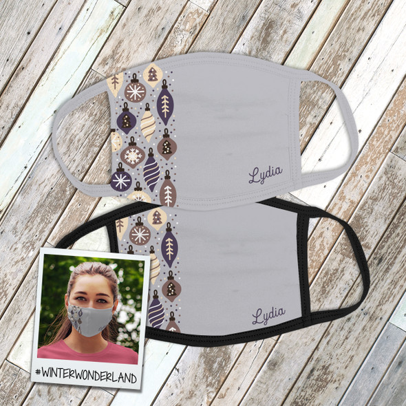 Winter wonderland holiday ornaments personalized fabric face mask