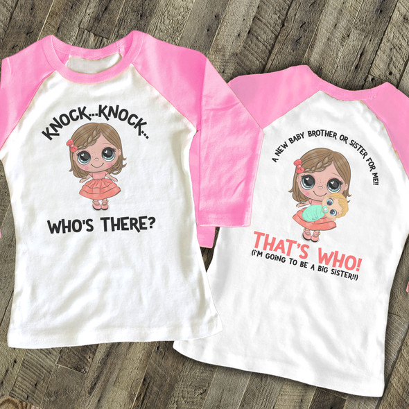 Big sister to be knock knock secret pregnancy announcement raglan shirt