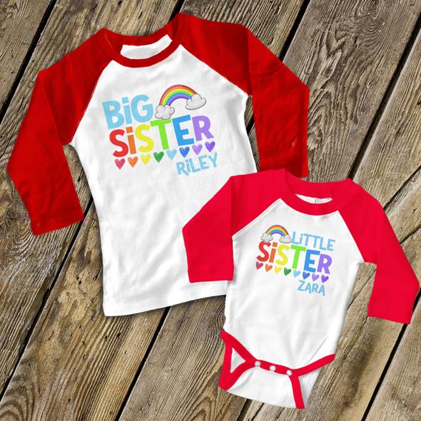 Big sister little sister colorful rainbow and hearts sibling raglan shirt and bodysuit set