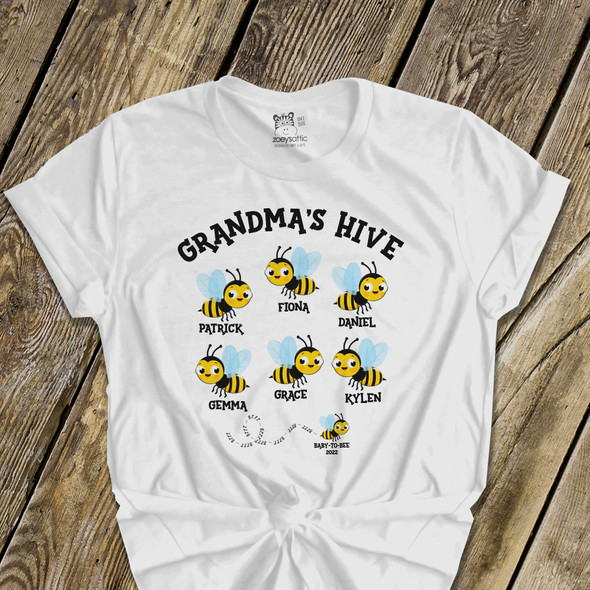 Grandma's hive personalized bees unisex crew neck or vneck shirt