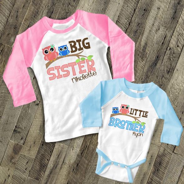 Brother or sister funky owl sibling raglan shirt set