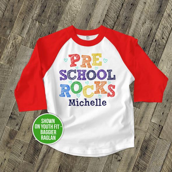 Student preschool fourth grade or any grade rocks colorful personalized raglan shirt