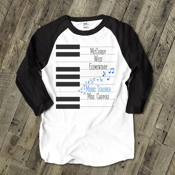 Music teacher piano key personalized raglan shirt