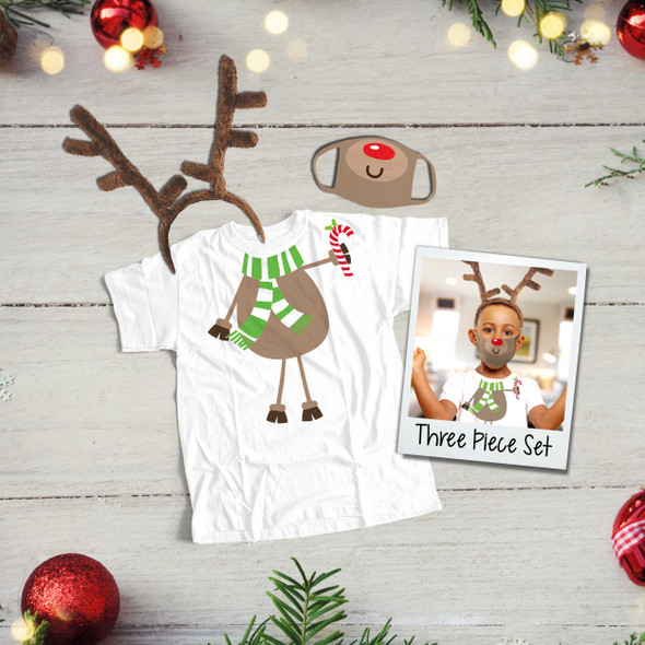 Rudolph red nose face mask with shirt and antlers THREE piece reindeer set