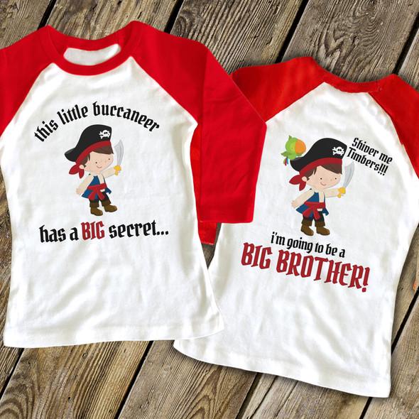 Big brother to be pirate secret pregnancy announcement raglan shirt