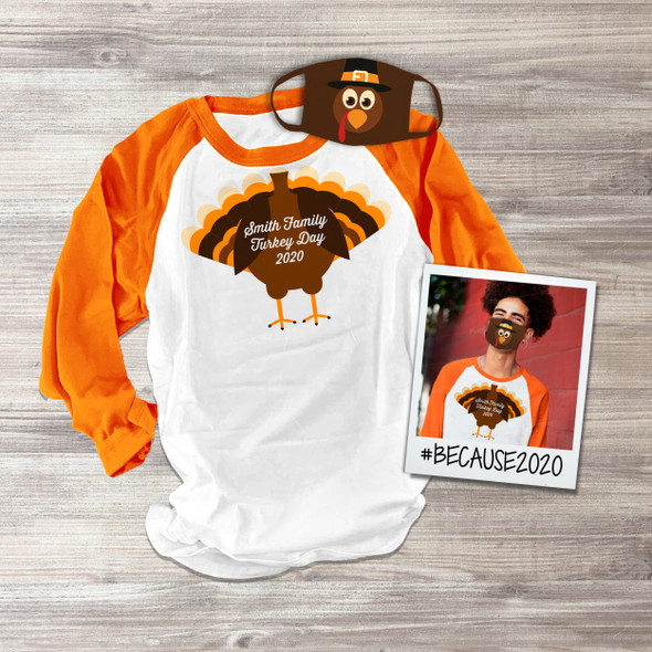 Thanksgiving family turkey unisex raglan shirt with matching turkey face mask