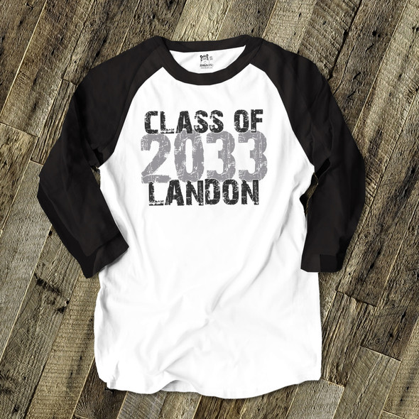 Back to school class of any year through the years from kindergarten to high school custom raglan shirt