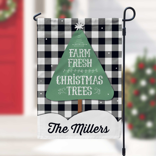 Farm fresh Christmas trees personalized holiday garden flag with stand option