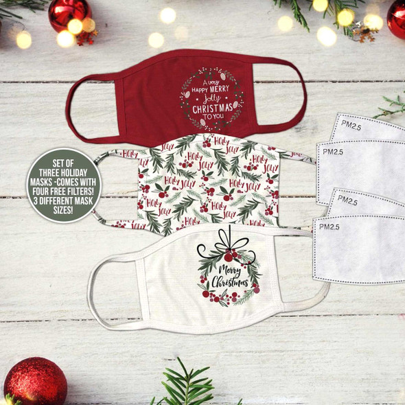 Christmas pattern set of three fabric face masks