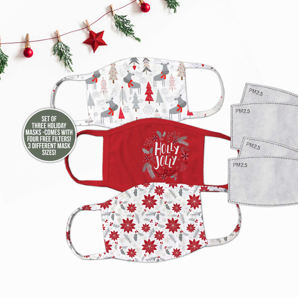 Christmas family set of three fabric face masks