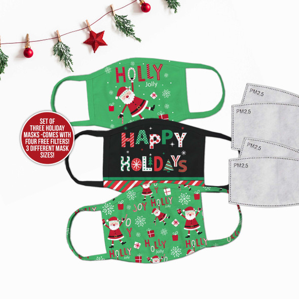 Christmas family festive fabric face masks set of three