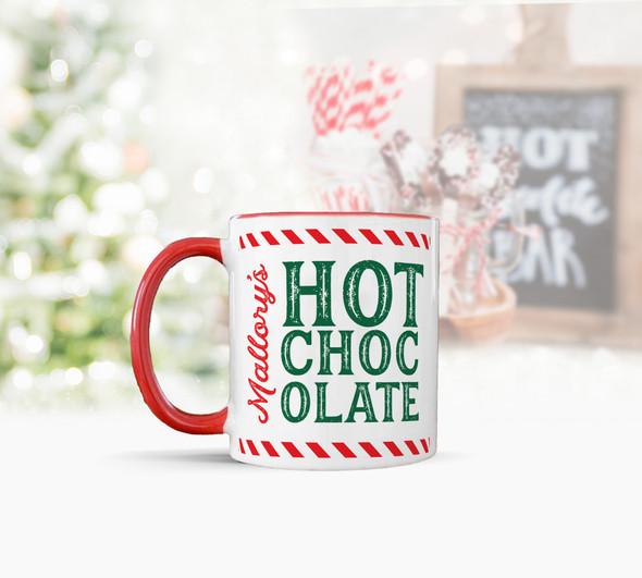Personalized hot chocolate holiday red handle mug