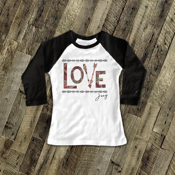 Valentine arrow love raglan shirt