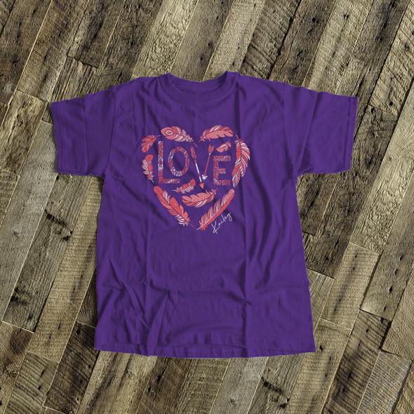 Valentine girls feather heart wreath love  DARK Tshirt