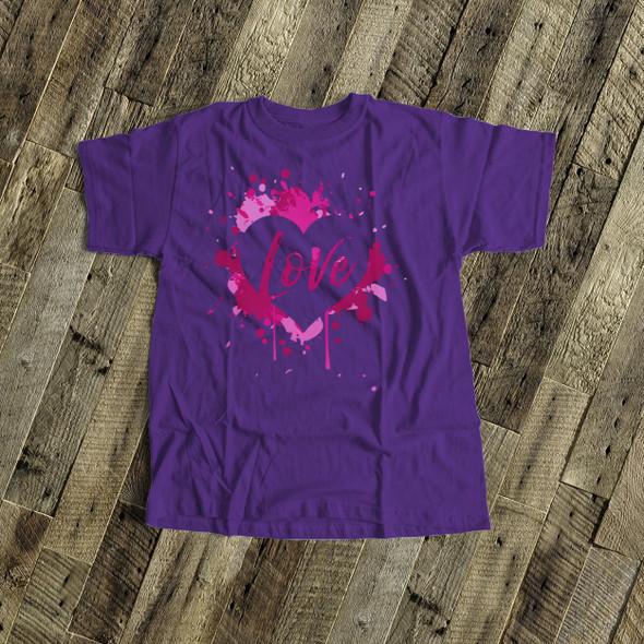 Valentine girl love pink splash heart DARK Tshirt