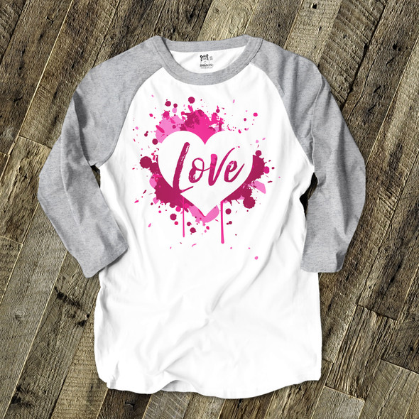 Valentine love pink splash heart unisex adult raglan shirt