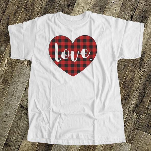 Valentine love red buffalo plaid heart Tshirt